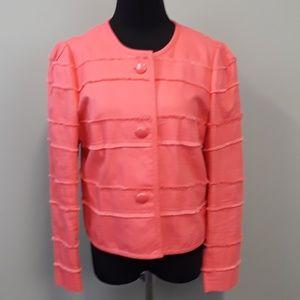 J. Crew Coral Button Up Fringe Jacket Size 12